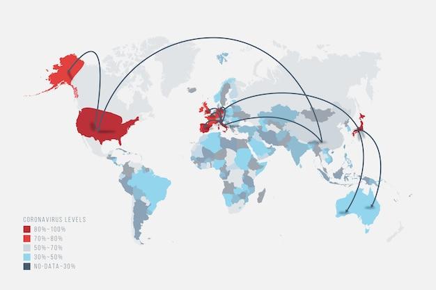 Coronavirus-kaart die zich over de hele wereld verspreidt