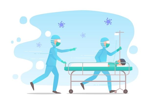 Coronavirus kritisch patiëntconcept