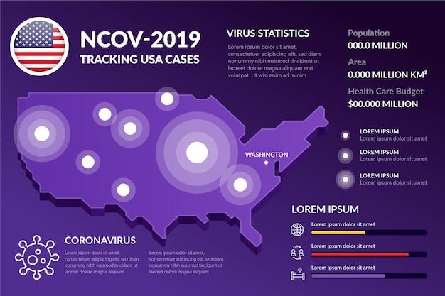 Coronavirus landkaart infographic ontwerp