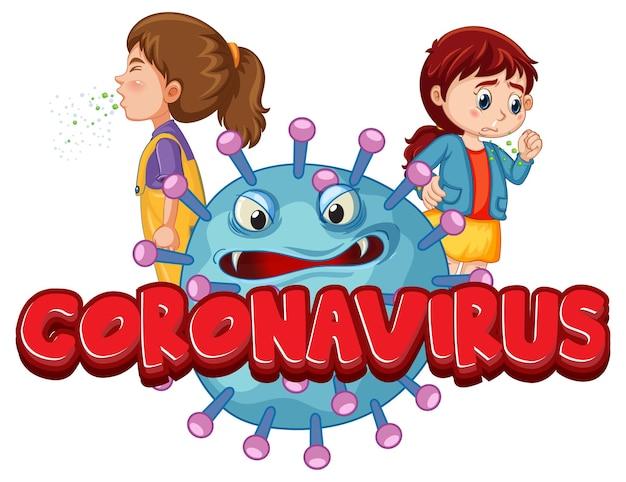 Coronavirus-lettertypeontwerp met covid19-pictogram en stripfiguur voor kinderen op wit wordt geïsoleerd