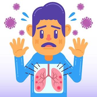 Coronavirus longen infectie concept