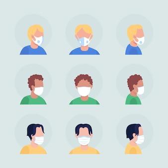 Coronavirus maskeert semi-egale kleur vector avatar-tekenset. portret met gasmasker van voor- en zijaanzicht. geïsoleerde moderne cartoon-stijlillustratie voor grafisch ontwerp en animatiepakket