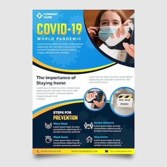 Coronavirus medische producten afdruksjabloon met foto