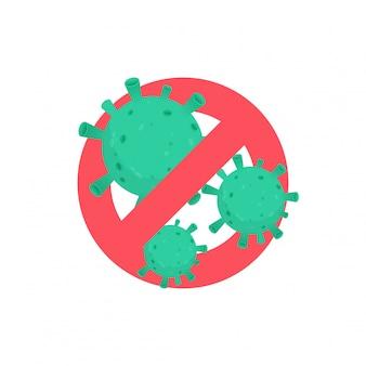 Coronavirus met verboden pictogram dat in wit wordt geïsoleerd
