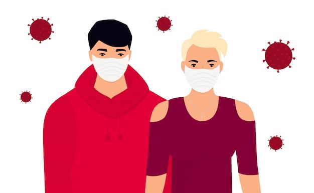 Coronavirus. nieuw virus 2019-ncov. concept van quarantaine, voorkom infectie. man en vrouw in beschermende medische gezichtsmaskers.