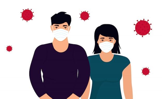 Coronavirus. nieuw virus 2019-ncov. concept van quarantaine, voorkom infectie. man en vrouw in beschermende medische gezichtsmaskers
