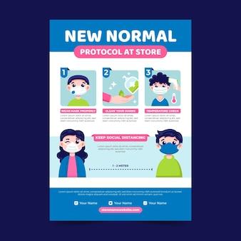 Coronavirus nieuwe normale flyer-sjabloon