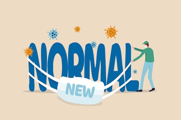 Coronavirus nieuwe normale levensstijl, covid-19 pandemie zorgt ervoor dat mensen een nieuw leven leiden om het uitbraakconcept te beschermen, medisch personeel met gezichtsmasker slaagt erin een masker te dragen met het woord nieuw op het hoofdwoord normaal.