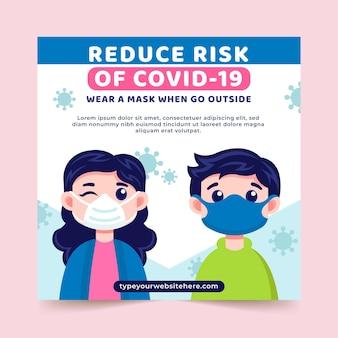 Coronavirus nieuwe normale vierkante flyer