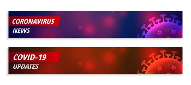 Coronavirus nieuws en update brede banner in twee kleuren