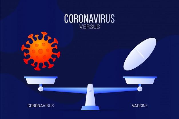 Coronavirus of medische pil illustratie. creatief concept van schalen en versus, aan de ene kant van de schaal ligt een virus covid-19 en aan de andere pil-icoon. vlakke afbeelding.