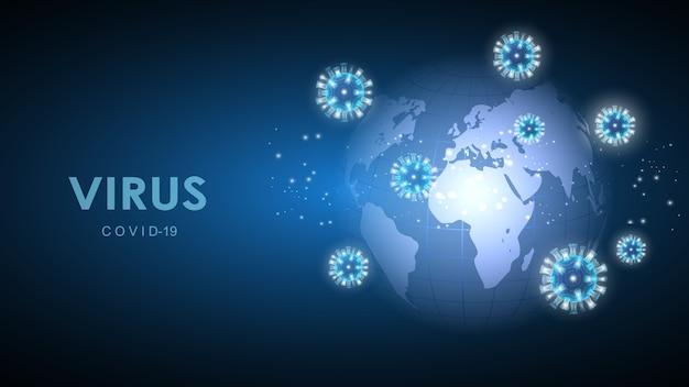 Coronavirus op de achtergrond van de planeet