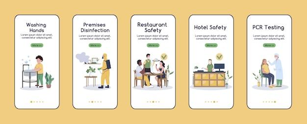 Coronavirus pandemie problemen onboarding mobiele app scherm platte sjabloon. nieuw normaal. walkthrough website stappen met karakters. ux, ui, gui smartphone cartoon-interface
