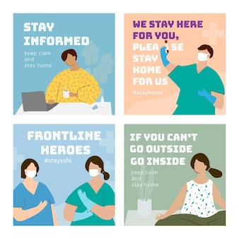 Coronavirus pandemie sociale sjabloon set vector