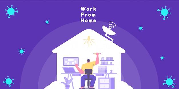 Coronavirus pandemie werkt vanuit huis. thuis werken tijdens quarantaine