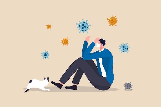 Coronavirus-pandemische vermoeidheid, uitgeput door alleen te zijn of gestrest door covid-19 quarantainevergrendeling