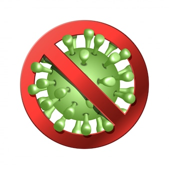 Coronavirus-pictogram met rood verbodsbord, 2019-ncov nieuw coronavirus-conceptteken