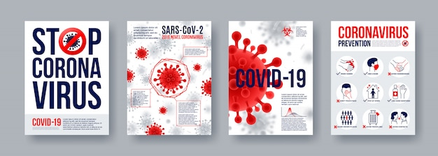 Coronavirus poster set met infographics elementen. nieuwe coronavirus 2019-ncov-banners. concept van gevaarlijke pandemie van covid-19.