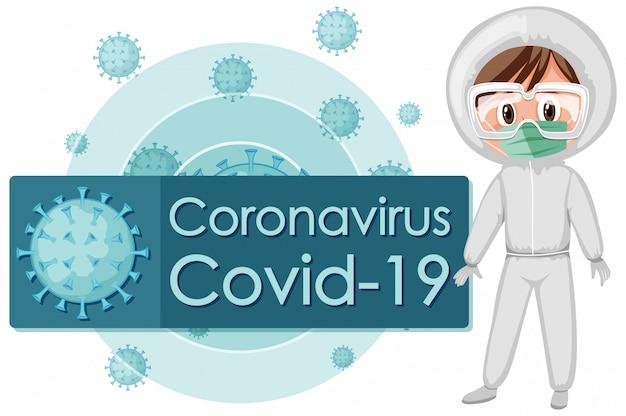 Coronavirus posterontwerp met arts in hazmat-pak