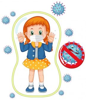 Coronavirus posterontwerp met meisje draagt masker