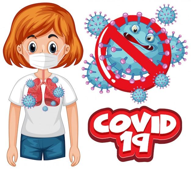 Coronavirus posterontwerp met woord covid 19 en slechte longen