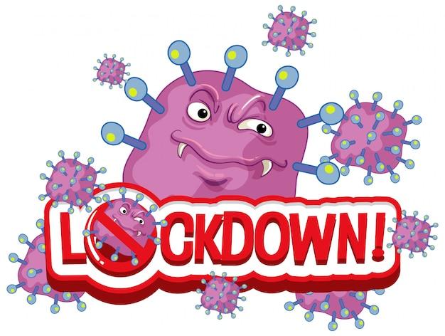 Coronavirus posterontwerp met woord lockdown op witte achtergrond