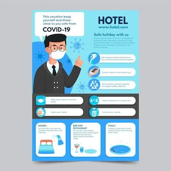 Coronavirus preventie poster sjabloon voor hotels