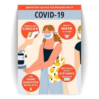 Coronavirus preventie poster sjabloon voor winkels