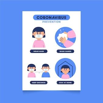Coronavirus preventie poster sjabloon