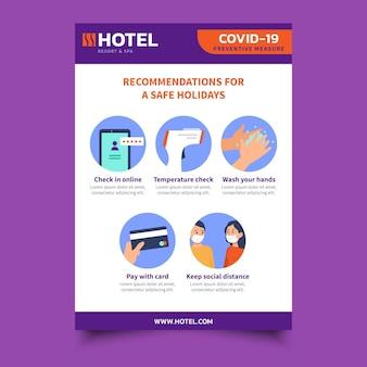 Coronavirus-preventie-poster voor hotelsjabloon