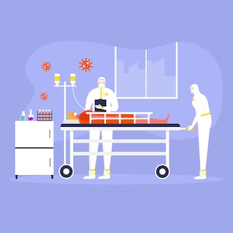 Coronavirus-preventieconcept, mensen in beschermend pak en masker, dokter. wereldwijde epidemie of pandemie. covid-19, coronavirusziekte. werknemer in chemische stof maakt virustest. vector