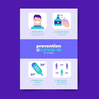 Coronavirus-preventieposter voor winkelstijl