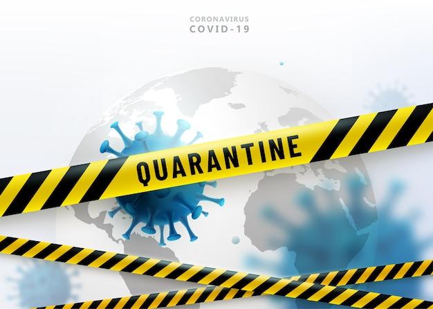 Coronavirus quarantaine achtergrond. virus 2019-ncov valt earth globe aan. waarschuwingsbeschermingsstrips