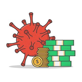 Coronavirus quarantaine economie vector icon illustratie. geld met het platte pictogram van het virusconcept