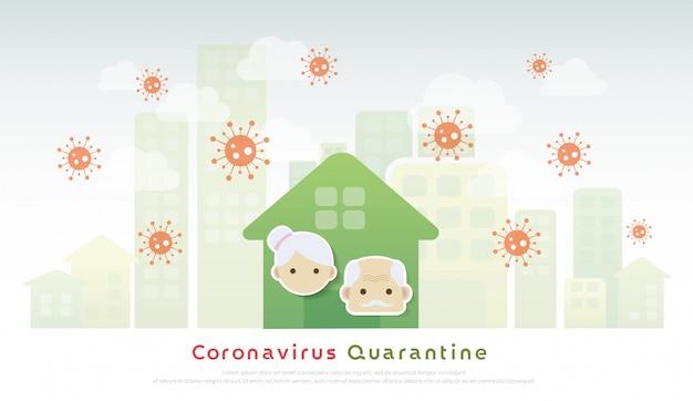 Coronavirus-quarantaine en sociale afstand. oudere quarantaine om uitbraak te stoppen en thuis te blijven. illustratie