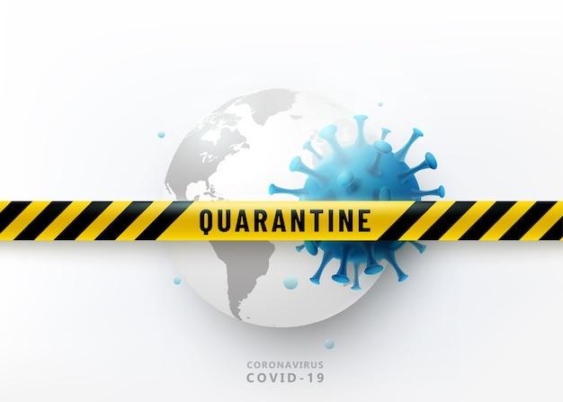 Coronavirus quarantaine ontwerpconcept. virus 2019-ncov valt earth globe aan. waarschuwingsbeschermingsstrip