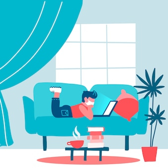 Coronavirus quarantaineconcept. kleine leerling, student die aan laptop werkt die thuis op bank ligt, online leerend voor kinderen, studie met computer. voorkom verspreiding van infectie. vlakke afbeelding