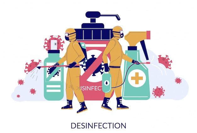 Coronavirus schoonmaak- en desinfectiediensten, vlakke afbeelding