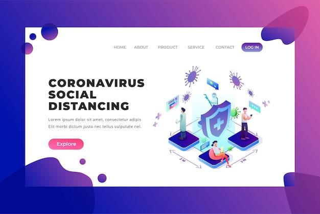 Coronavirus sociale afstand - vector bestemmingspagina