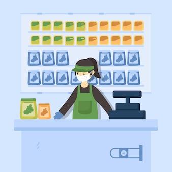 Coronavirus supermarkt concept