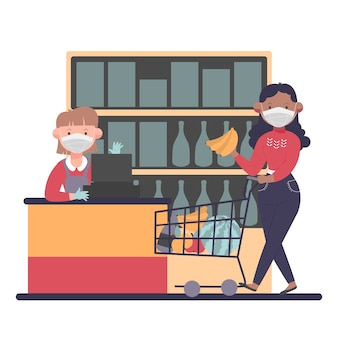 Coronavirus supermarkt illustratie concept