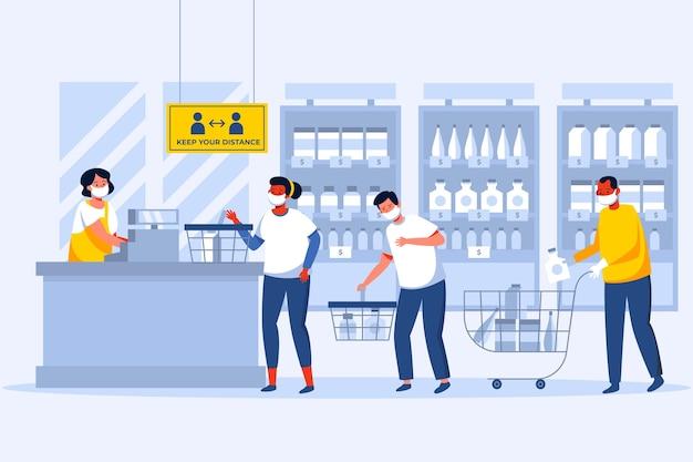 Coronavirus supermarkt illustratie