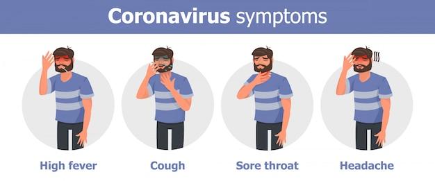 Coronavirus symptomen met man karakter