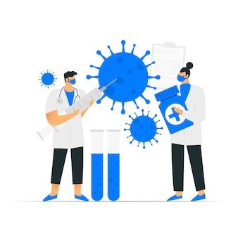 Coronavirus tegengif ontwikkeling illustratie