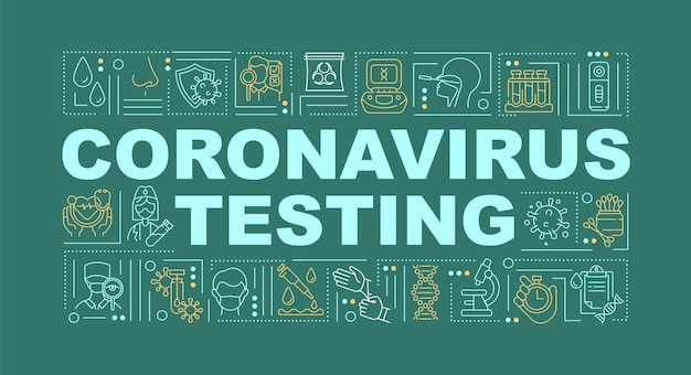 Coronavirus testen woord concepten banner illustraties