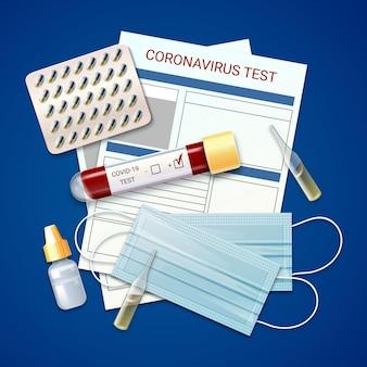 Coronavirus-testkit en medische maskers