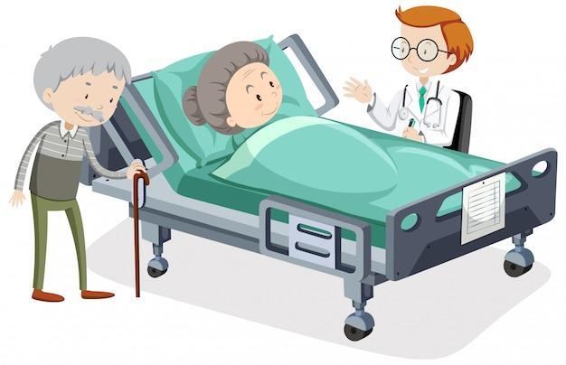 Coronavirus thema met oude vrouw in ziekenhuisbed