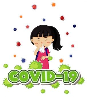 Coronavirus thema met ziek meisje hoesten