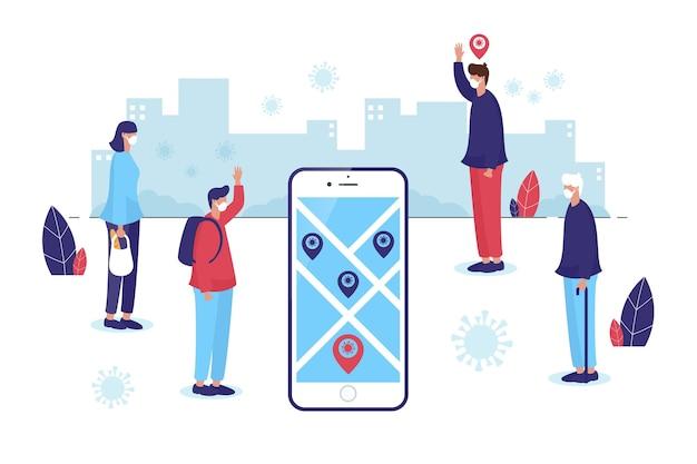 Coronavirus-trackinglocatie-app - concept
