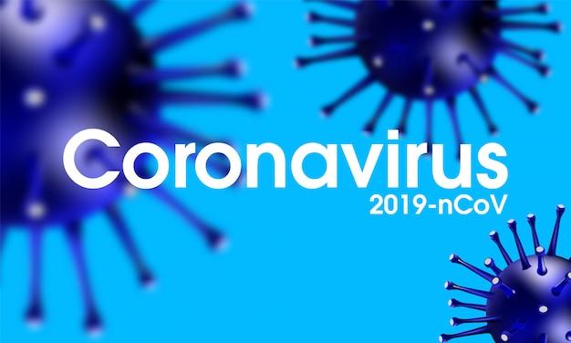 Coronavirus-uitbraak, covid-19 realistische illustratie-infectie, griepachtergrond met gevaarlijke gevallen van griepstammen als pandemische medische gezondheid, risicoconcept met ziektecellen.